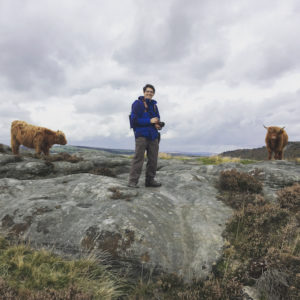 Dan with the Highland Cows of Baslow Edge
