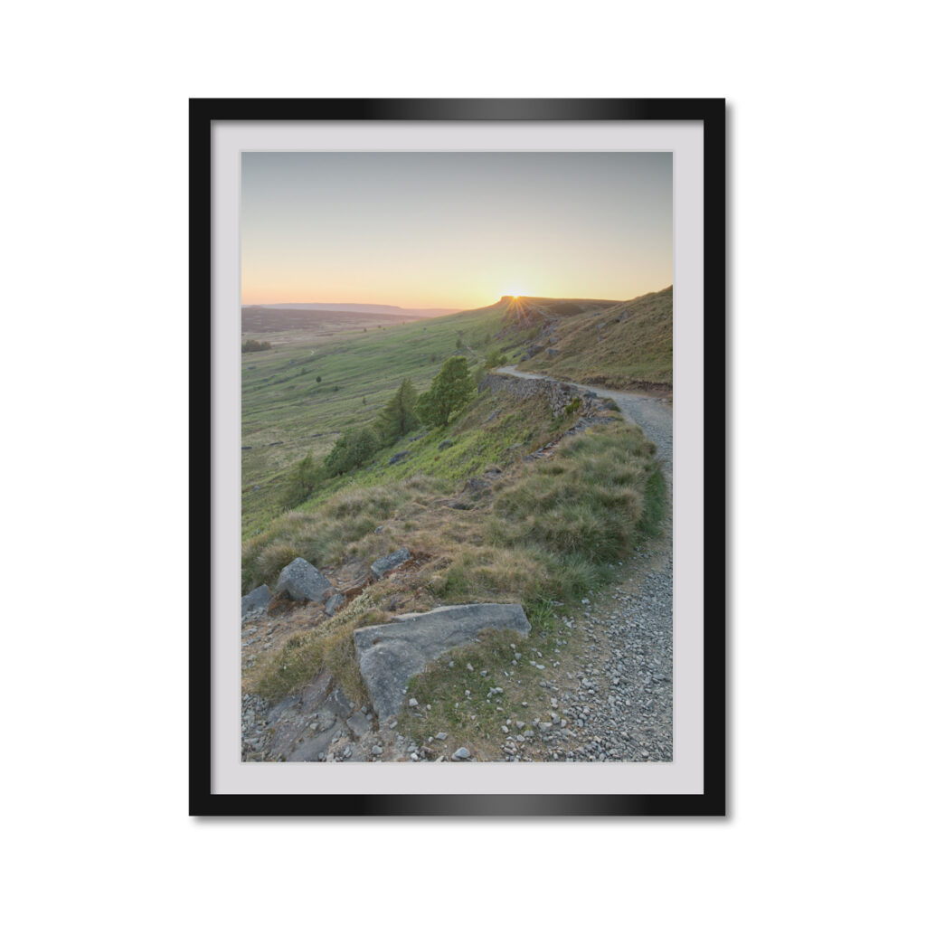 Stanage Edge Sunset Portrait Framed